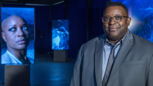 Isaac Julien with Stones Against Diamonds, a work by Isaac Julien for the Rolls-Royce Art Programme