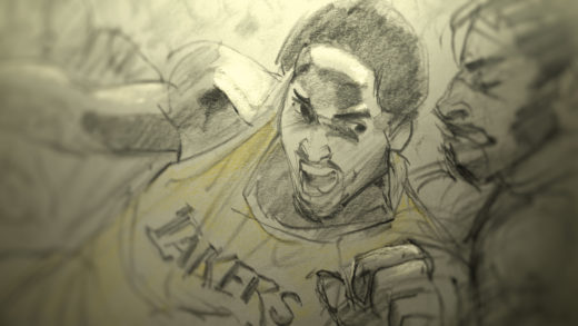 Animated Kobe Bryant. Film still from DEAR BASKETBALL.