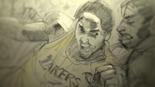Animated Kobe Bryant. Film still from DEAR BASKETBALL.
